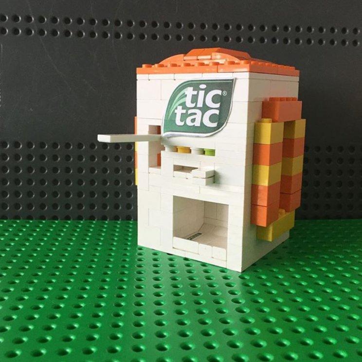 LEGO tic tac machine bouwen, snoepautomaat, snoep dispenser
