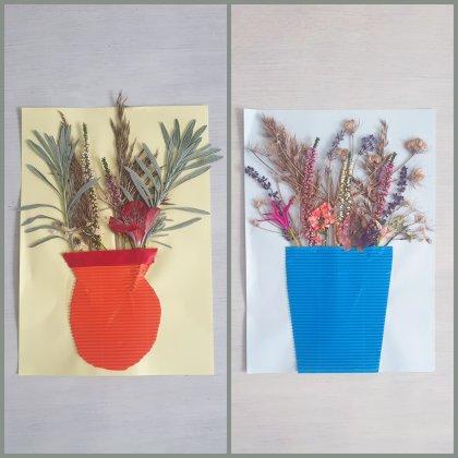 Kunstwerk van droogbloemen in vaas knutselen