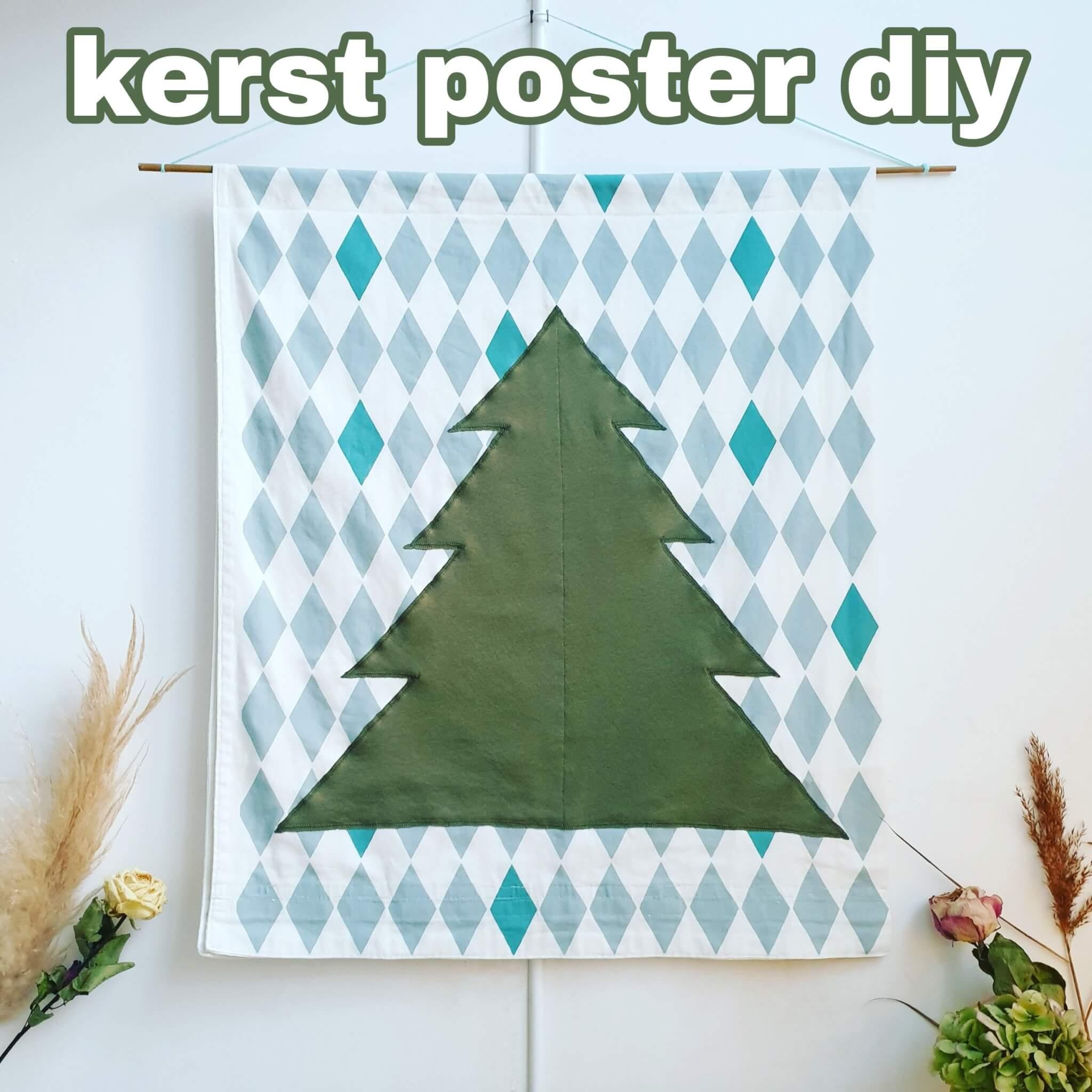 Kerst poster zelf maken: kerstboomDIY op stoffen doek