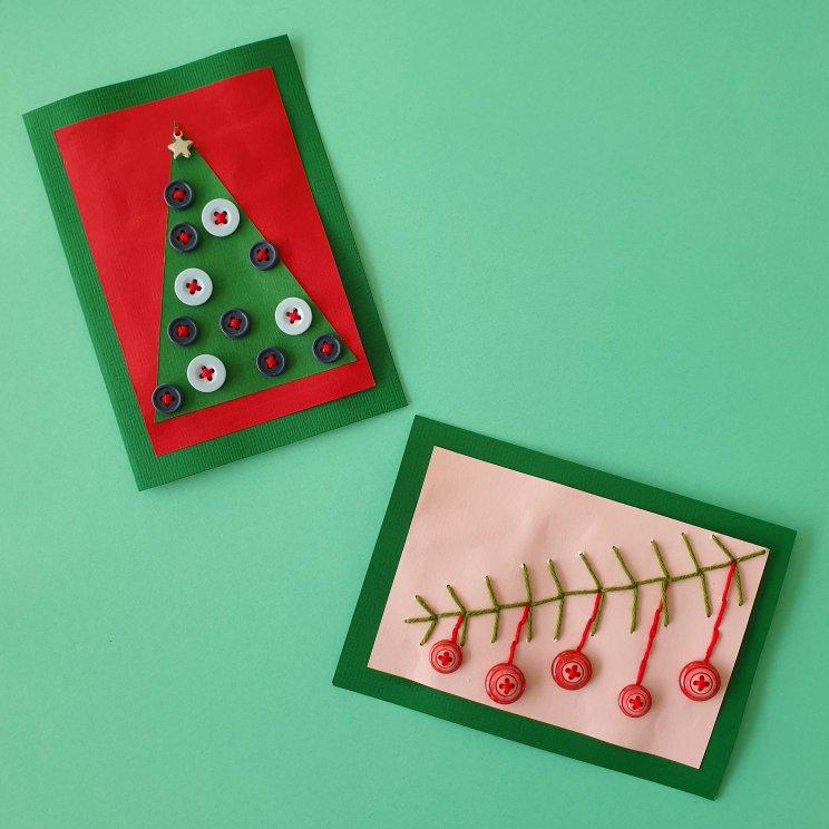 kerstkaarten knutselen met kinderen - kerstboom en kerstballen maken met knopen