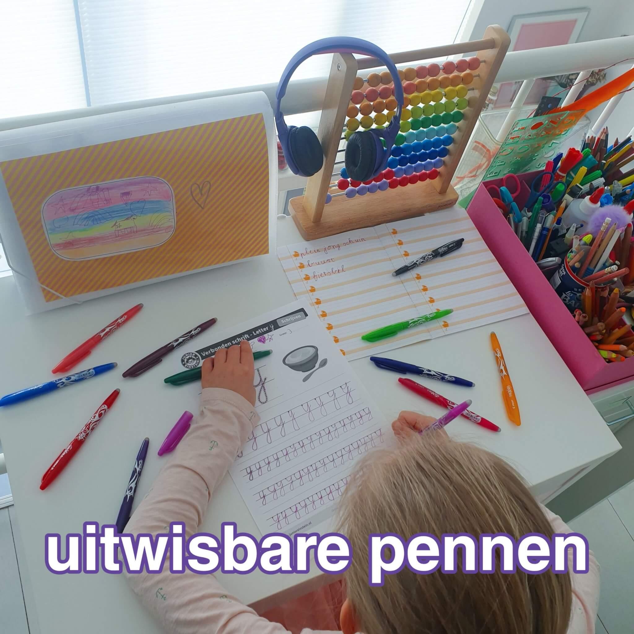 Ideaal: uitwisbare pen van Frixion in vrolijke kleurtjes