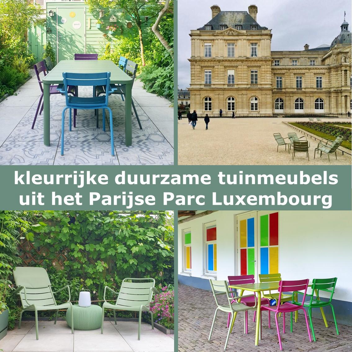 Kleurrijke duurzame aluminium tuinmeubels: Fermob tuinstoelen & tuintafel. We zijn al jaren verliefd op de kleurrijke duurzame aluminium tuinmeubels van Fermob. Kleurrijke meubels zorgen dat je tuin er het hele jaar vrolijk uitziet. Wellicht komen de stoelen je bekend voor: ze staan ook in het Parijse Parc Luxembourg.