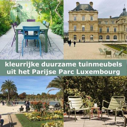 Kleurrijke duurzame aluminium tuinmeubels: Fermob tuinstoelen & tuintafel, dezelfde als in het Parijse Parc Luxembourg. We zijn al jaren verliefd op de kleurrijke duurzame aluminium tuinmeubels van Fermob.Kleurrijke meubels zorgen dat je tuin er het hele jaar vrolijk uitziet.