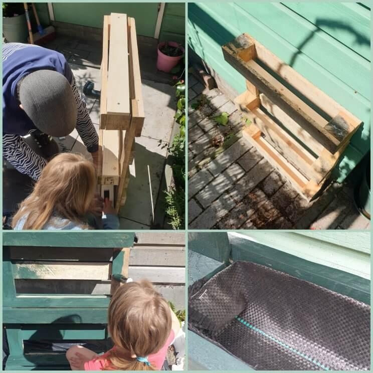 Deze bak maakten we van pallets, een palletbak is makkelijk om te maken met kinderen.