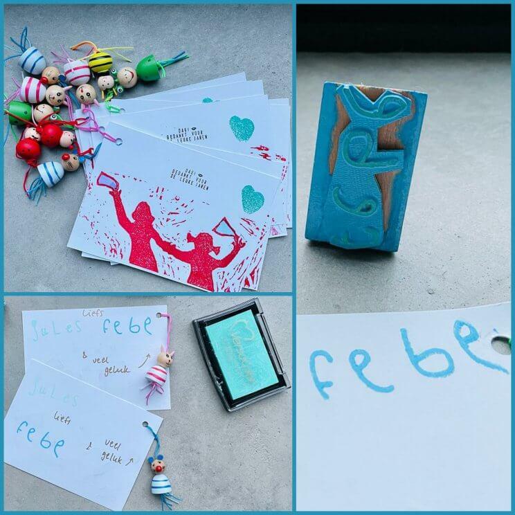 Corrien maakte dit kaartje met een gelukspoppetje er aan vast. Om de juf en meester bij het afscheid veel geluk te wensen.Op het kaartje een zelfgemaakte stempel.