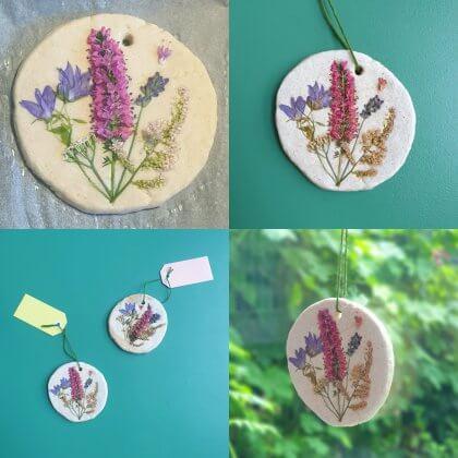 Knutselen met bloemen - hanger maken van bloemen en zoutdeeg