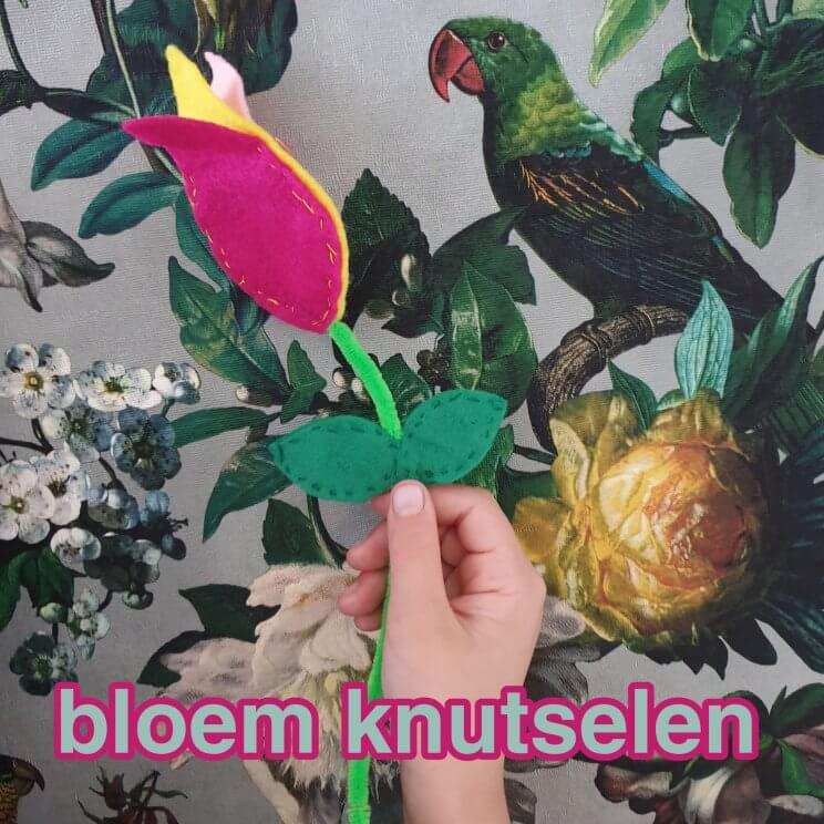 Bloemen knutselen: een tulp van vilt en chenilledraad. Vilt is een ideaal materiaal om mee te knutselen en mee te leren naaien. Kleine meis moest bloemen knutselen, het werd een tulp van vilt en chenilledraad. Makkelijk om zelf te maken en het ziet er heel leuk uit.Leuk cadeautje voor de juf, meester, papa, mama, opa of oma.